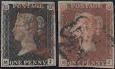 1840 1d Black/1841 1d Red Plate 9 'MJ' matched pair
