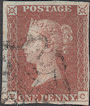 1841 1d Red Plate 11 'EC'