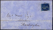 1858 2d Deep Blue SG36a Plate 6 'ML'
