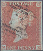 1851 1d Orange-brown Plate 111 'MK'