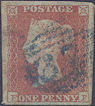 1851 1d Red Plate 121 'FF' Blue Cancel