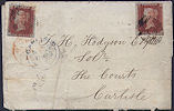 1845 1d Red Plate 63 'GB,IL'