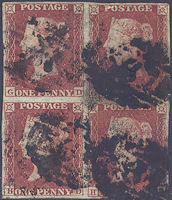1853 1d Red B2 Plate 163 'GD-HE' BLOCK