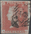 1852 1d Red Plate 153 'AG'