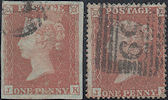 1853/54 1d Red Plate 175 'JK' Rare Matched Pair