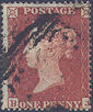 1854 1d Orange-red C1(5) Plate 163 'BJ'