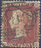 1855 1d Red-brown C2uc Plate 202 'GE' Green Cancel