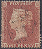 1854 1d Red C1i Plate R2 'BB' DOUBLE PERFS