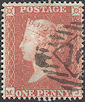 1851 1d Red CE2 Plate 100 'MJ' Archer Perf