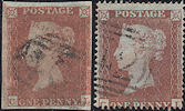 1853/54 1d Red/Plum Plate 173 'CL' Rare Matched Pair