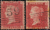1857 1d Rose-red C10/C11 Plate 49 'BJ'