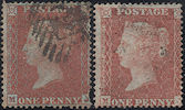 1855 1d Red C4/C5 Plate 6 'MJ' MATCHED PAIR