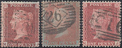 1856/57 1d Red (shades) C8(5/6)/C10(4) Plate 36 'MJ'