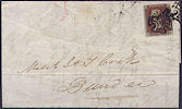 1842 1d Red Plate 25 'PE' Manchester NMX